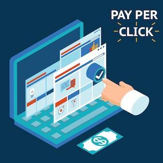 Pagamento por clique, ilustração de infográficos. toque com o dedo na tela de um laptop