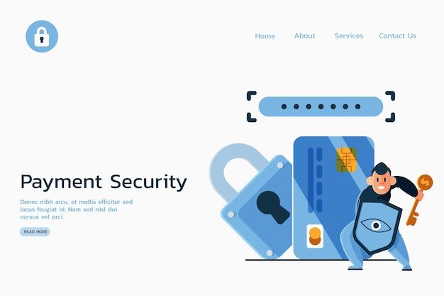Pagamento seguro contra a página de destino de ladrões cibernéticos