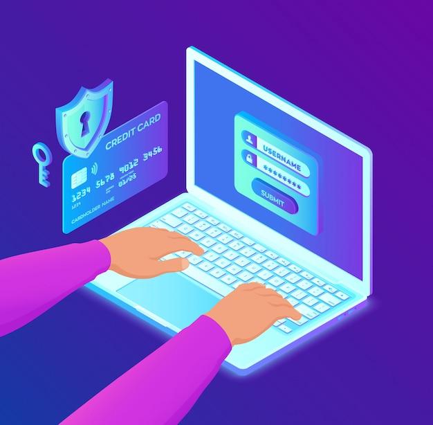 Pagamento seguro. proteção de dados pessoais. verificação de cartão de crédito e dados de acesso ao software como confidenciais.
