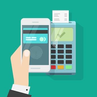 Pagamento sem fio com telefone celular e terminal ou smartphone sem contato