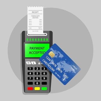 Pagamento terminal de pagamento aceito pos pagamento aceito recibo de transação bem-sucedido sem contato