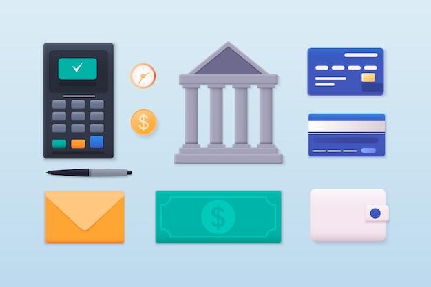 Pagamentos de finanças de dinheiro coleção de itens de fluxo de trabalho de negócios e elementos de finanças e marketing