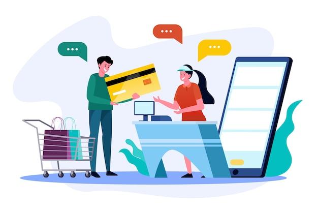 Pagamentos online em lojas online com serviços de caixa online