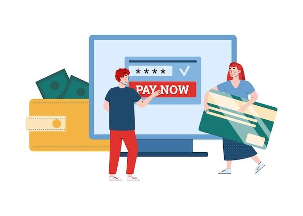 Pagamentos online usando aplicativo de computador para gerenciamento de conta digital eletrônica