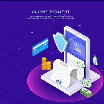 Pagamentos pela internet por cartão e recibo de pagamento.