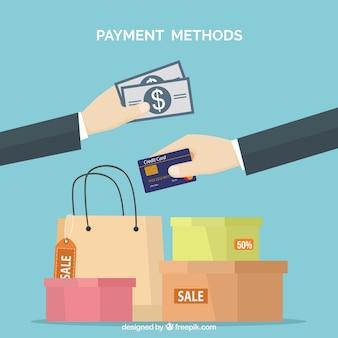 Pagamentos, sacos de compras e caixas