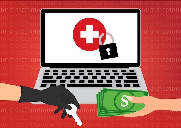 Pagando a um hacker por desbloqueio, o healthcare data recebeu um ransomware