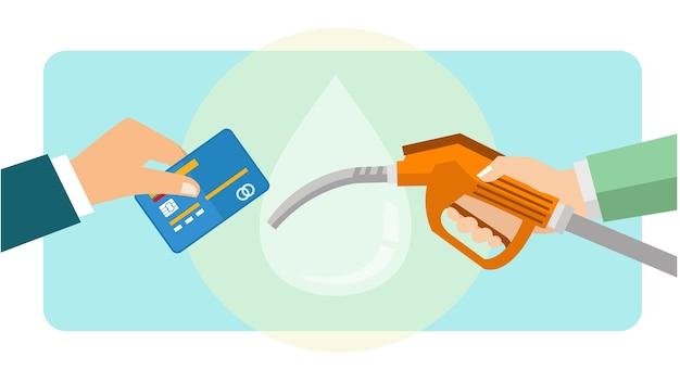 Pagando combustível a gasolina usando cartão de débito e crédito