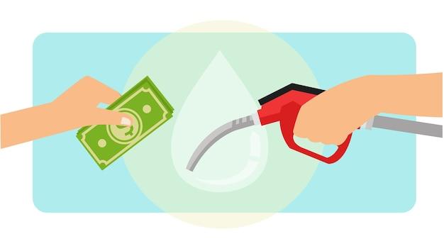Pagando combustível a gasolina usando dinheiro em espécie