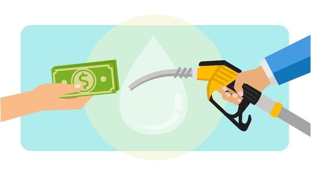 Pagando combustível gasolina com moeda do dólar