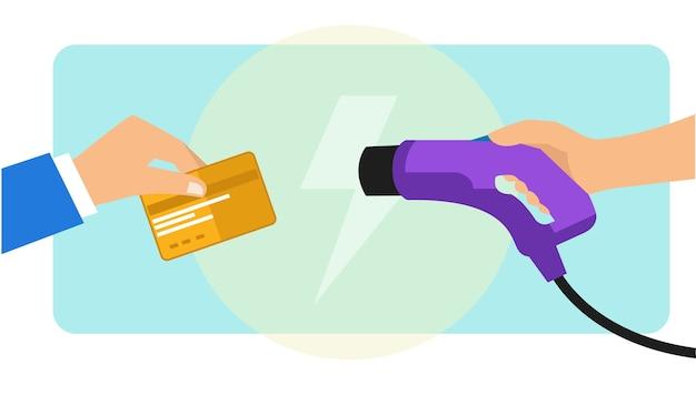 Pagando o carregamento do carro elétrico usando cartão de crédito