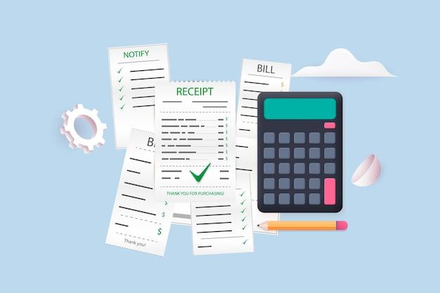 Pagar contas e impostos, cartões de crédito e calculadora. conceito de pagamentos de impostos e finanças domésticas