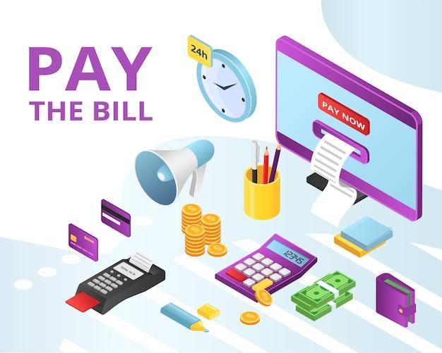 Pagar pagamentos de contas de crédito, aluguel de ícones online conjunto isolado. banco móvel, tecnologia de banco online, cartões de crédito e nfc, métodos de pagamento de contas na internet. negócios na internet.