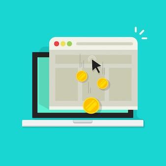 Pagar por clique ou dinheiro de renda da internet