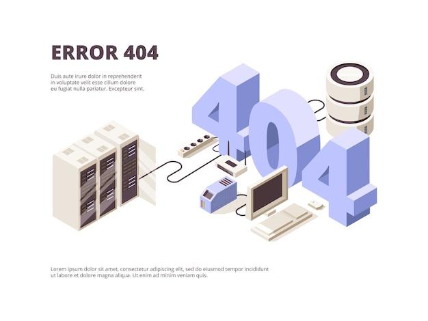 Página 404. erro de tecnologia da web problemas de hospedagem computador servidor queda de layout de pouso isométrico