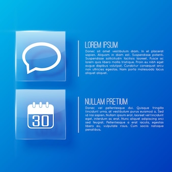 Página azul na apresentação de negócios com dois parágrafos importantes e dois ícones