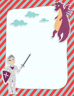 Página colorida da nota com um cavaleiro e um dragão.