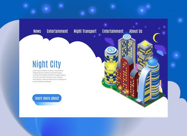 Página da cidade à noite com edifícios luminosos