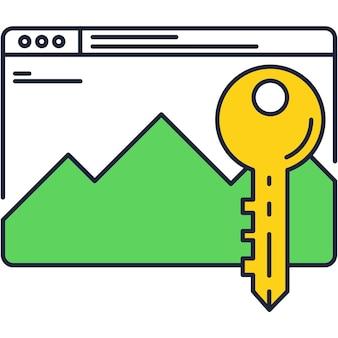 Página da web com design de ícone de vetor seguro chave