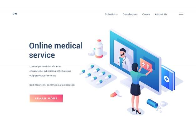 Página da web com promoção de serviço médico on-line na internet