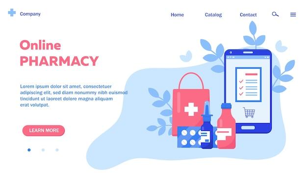 Página da web com smartphone e medicamento