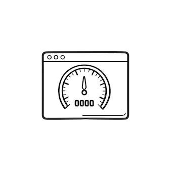 Página da web com velocímetro dentro do ícone de doodle de contorno desenhado de mão. velocidade do site, conceito de otimização de velocidade