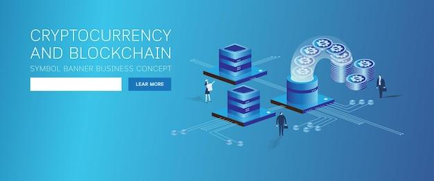 Página da web criptomoeda e blockchain