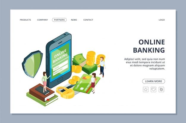 Página da web de bancos on-line. conceito de segurança. smartphone, pessoas pequenas e dinheiro. página de destino do aplicativo de pagamento para celular