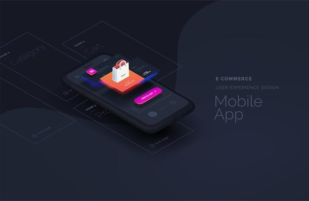 Página da web de comércio eletrônico para aplicativos móveis criada a partir de blocos separados
