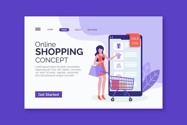 Página da web de compras on-line plana