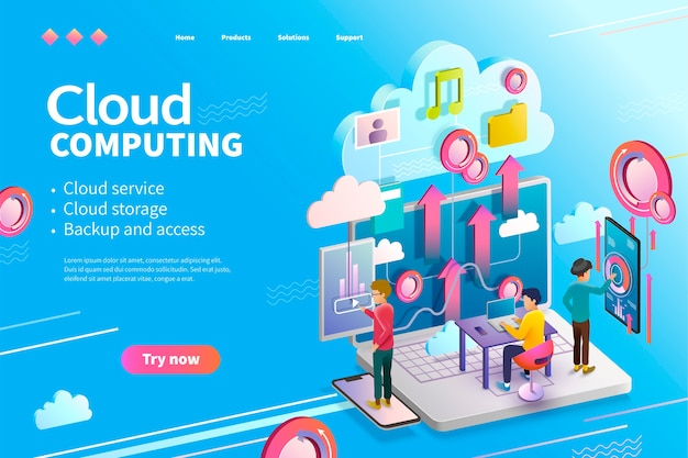 Página da web de computação em nuvem isométrica, as pessoas que usam podem fazer upload de dados