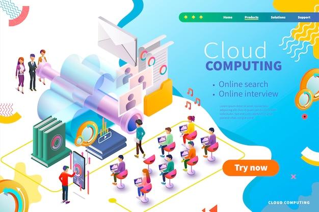 Página da web de computação em nuvem isométrica, entrevista de negócios e gerenciamento de recursos humanos