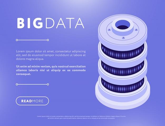 Página da web de desenho de banco de dados isométrico colorido
