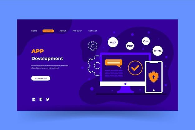 Página da web de desenvolvimento de aplicativos