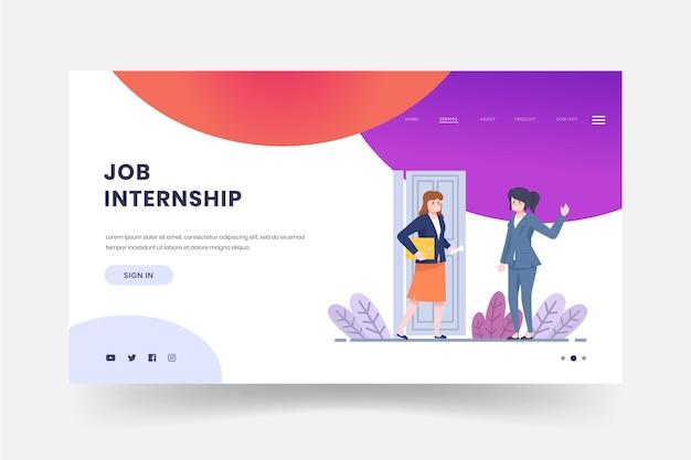 Página da web de empregos de estágio