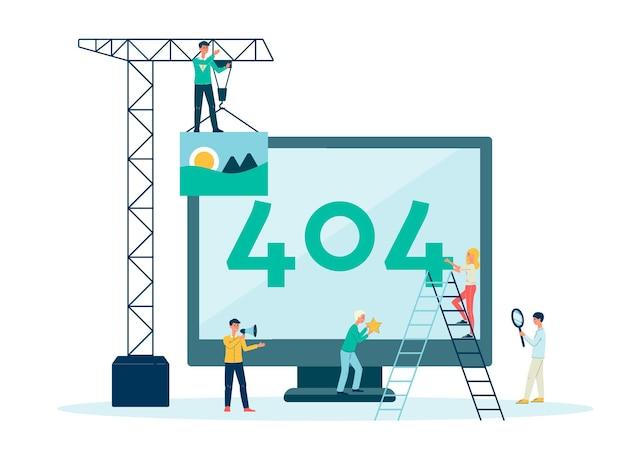 Página da web de erro 404 não encontrada, informações e avisos na tela do monitor.