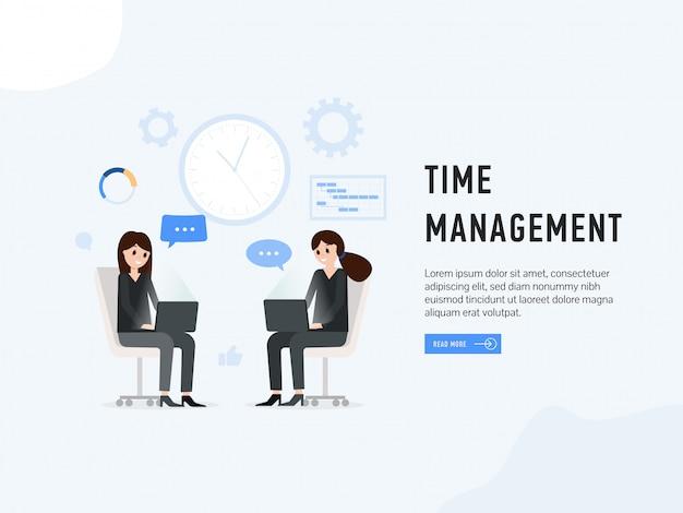 Página da web de pouso de gerenciamento de tempo