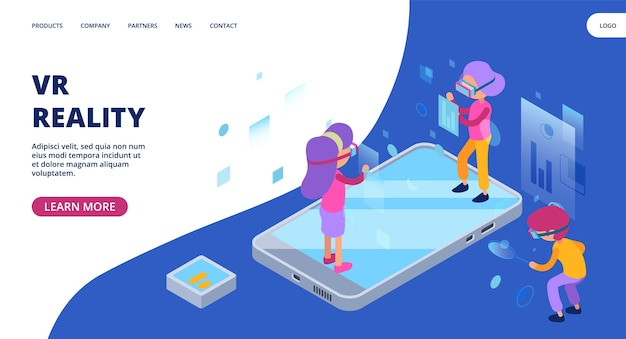 Página da web de realidade virtual. conceito isométrico de realidade aumentada.