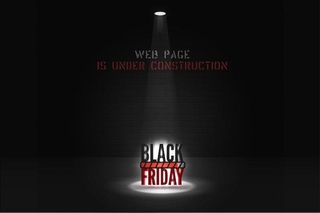 Página da web de sexta-feira negra sob o modelo de banner de construção. letras de fonte de estêncil estilizado no fundo da parede de tijolo. página do site de mega venda com ícone de progresso de carregamento. cartaz de antecipação de grandes descontos