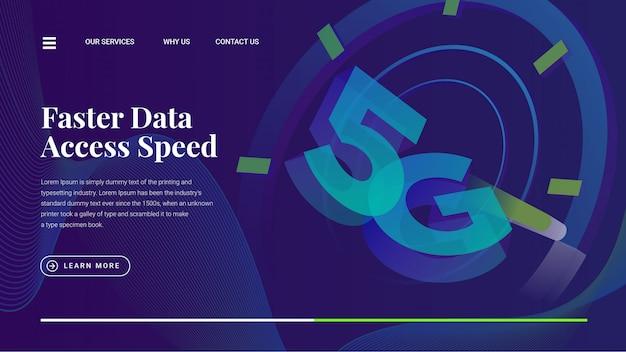 Página da web de velocidade de acesso rápido a dados 5g lte