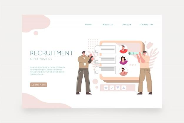 Página da web do conceito de recrutamento