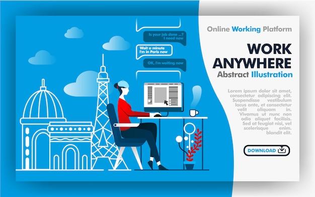 Página da web do trabalho em qualquer lugar