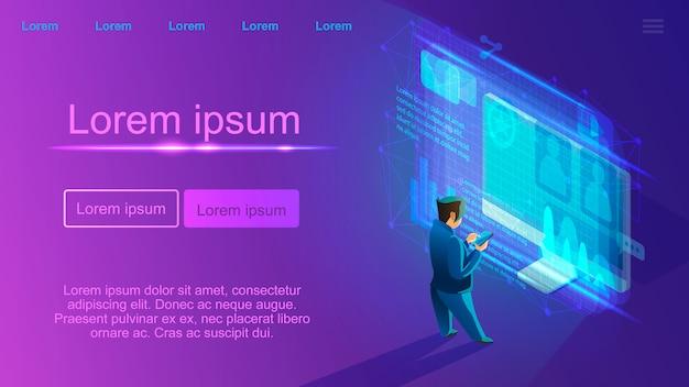 Página da web do vetor de serviço online do content manager