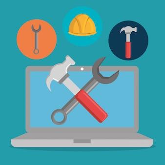 Página da web em construção com laptop