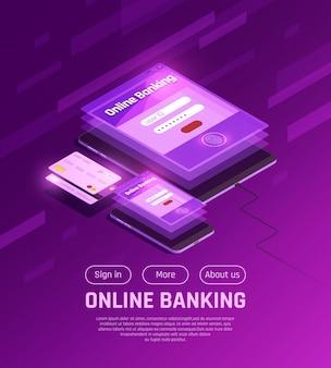 Página da web isométrica de banco on-line