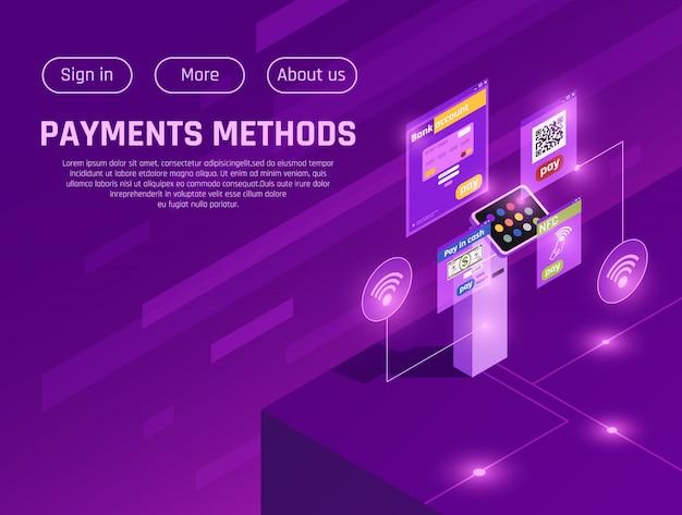 Página da web isométrica de métodos de pagamento