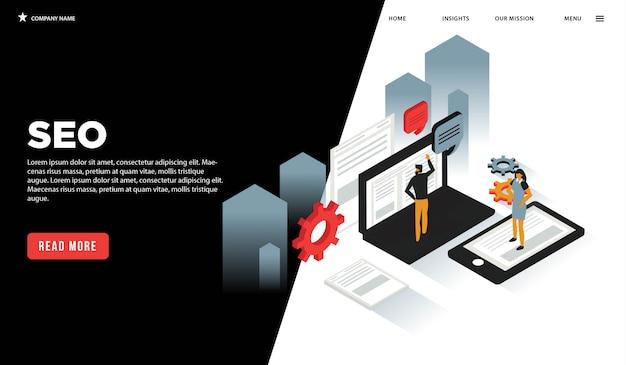 Página da web isométrica de seo