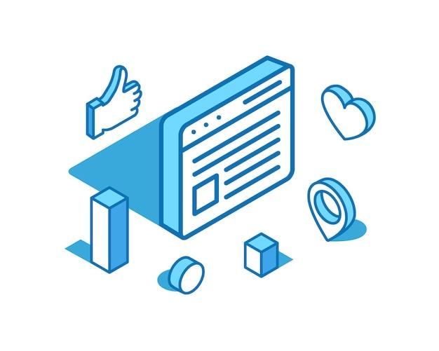 Página da web linha isométrica ilustração redes sociais melhor feedback de publicidade d modelo de banner