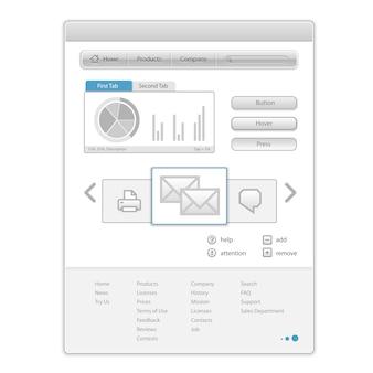 Página da web minimalista de vetor com elementos de controle de interface