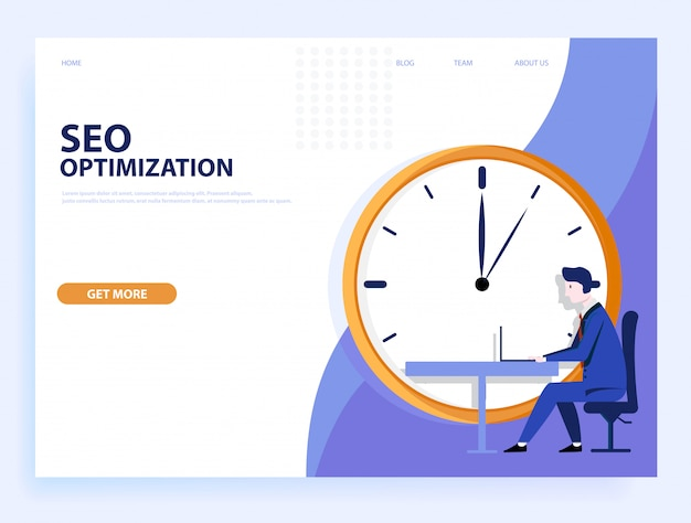 Página da web . otimização de seo rápida. conceito para site e celular.